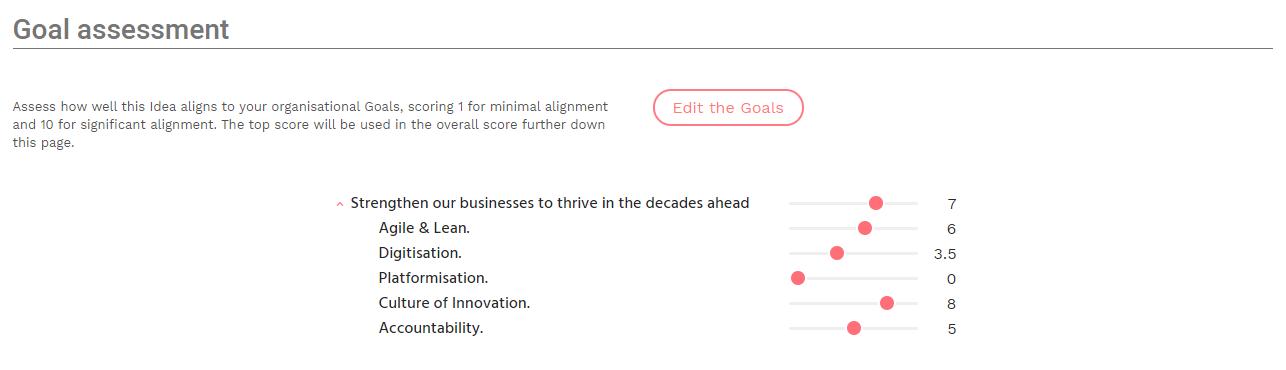 Goal assessment panel