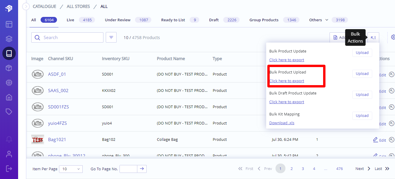 bulk upload product listi ng group
