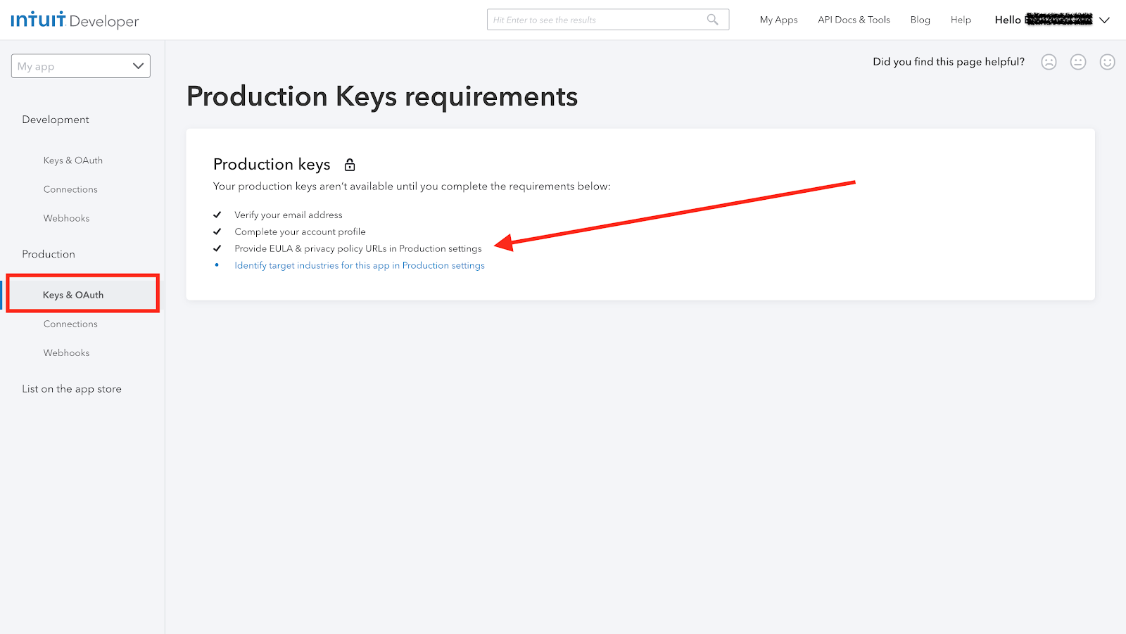production key requirements