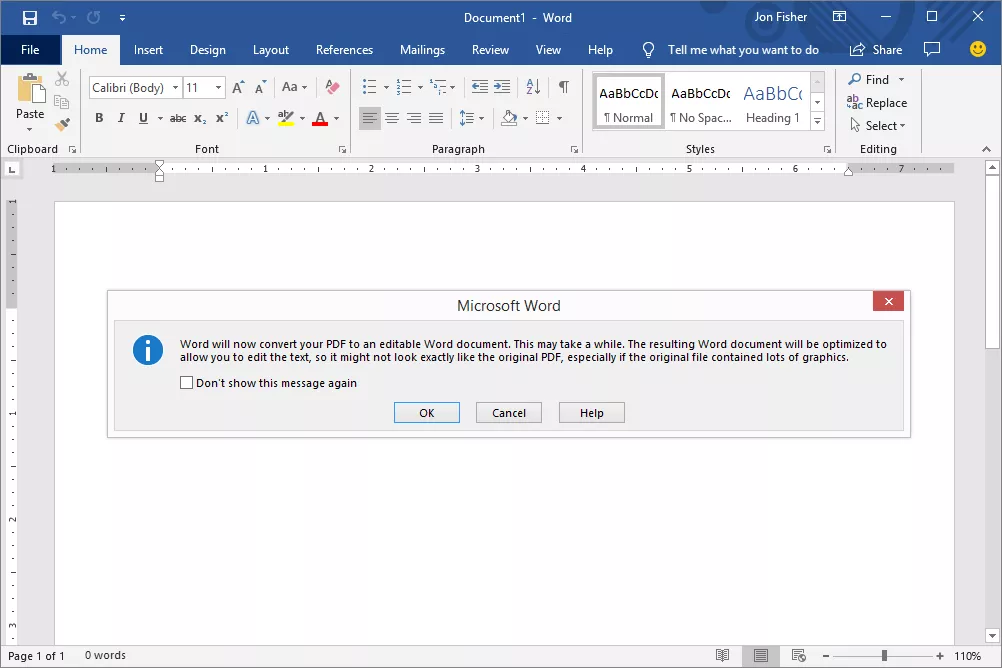PDF conversion prompt in Microsoft Word