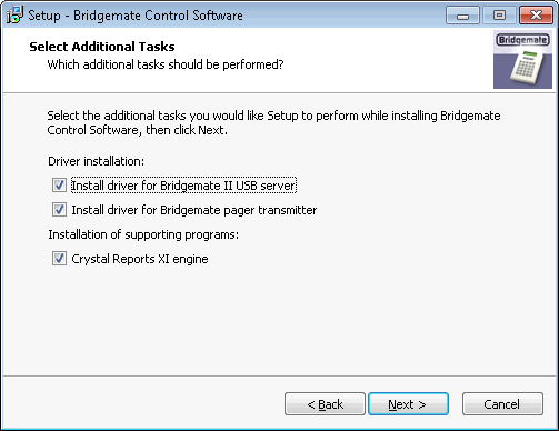 Installation Bridgemate Control Software