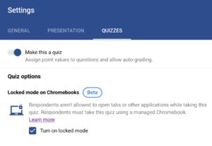 Enabling Locked Quizzes