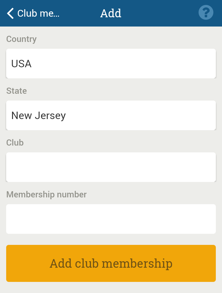 Add new club membership
