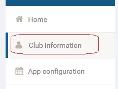 Club information menu item