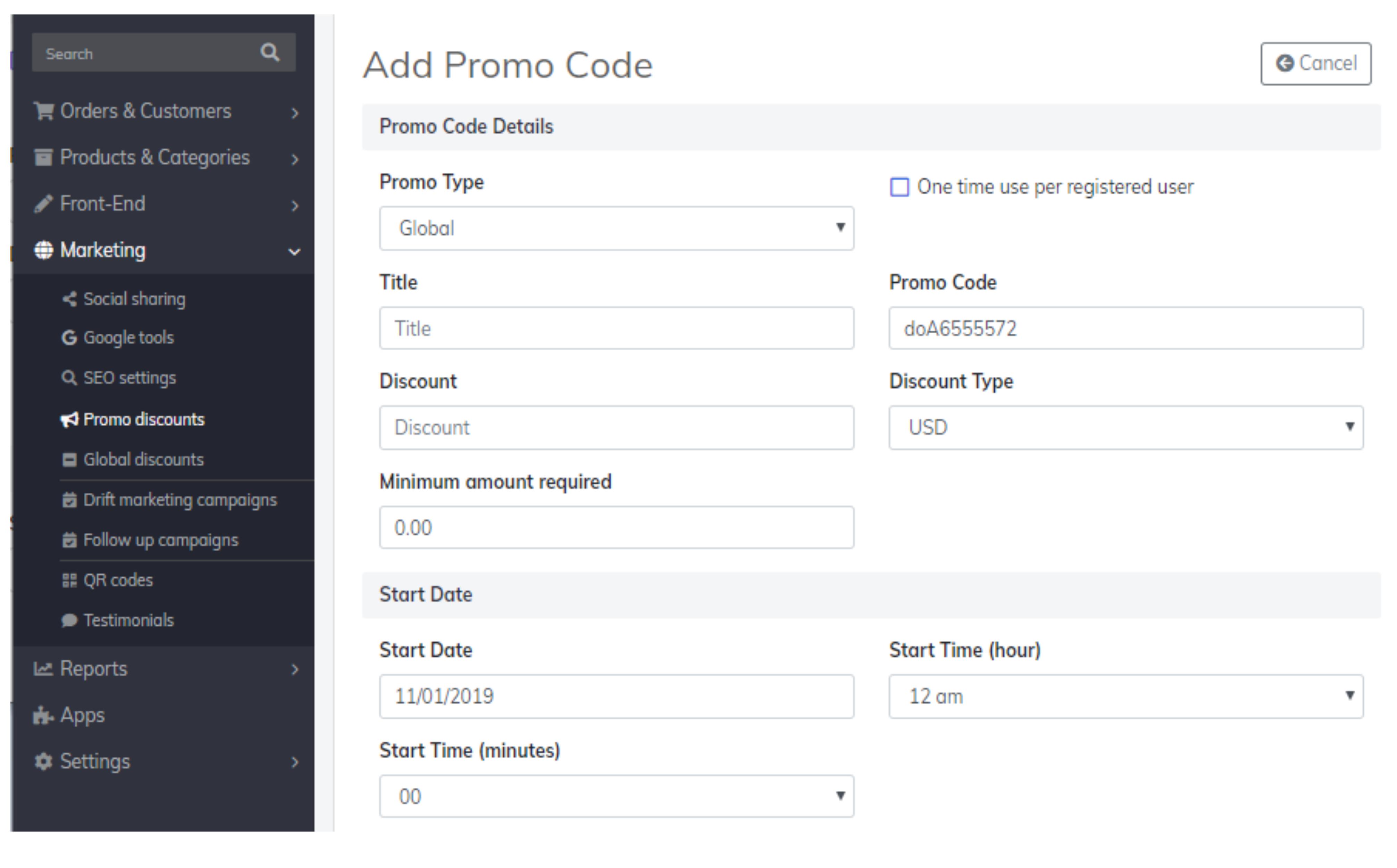 promo code details
