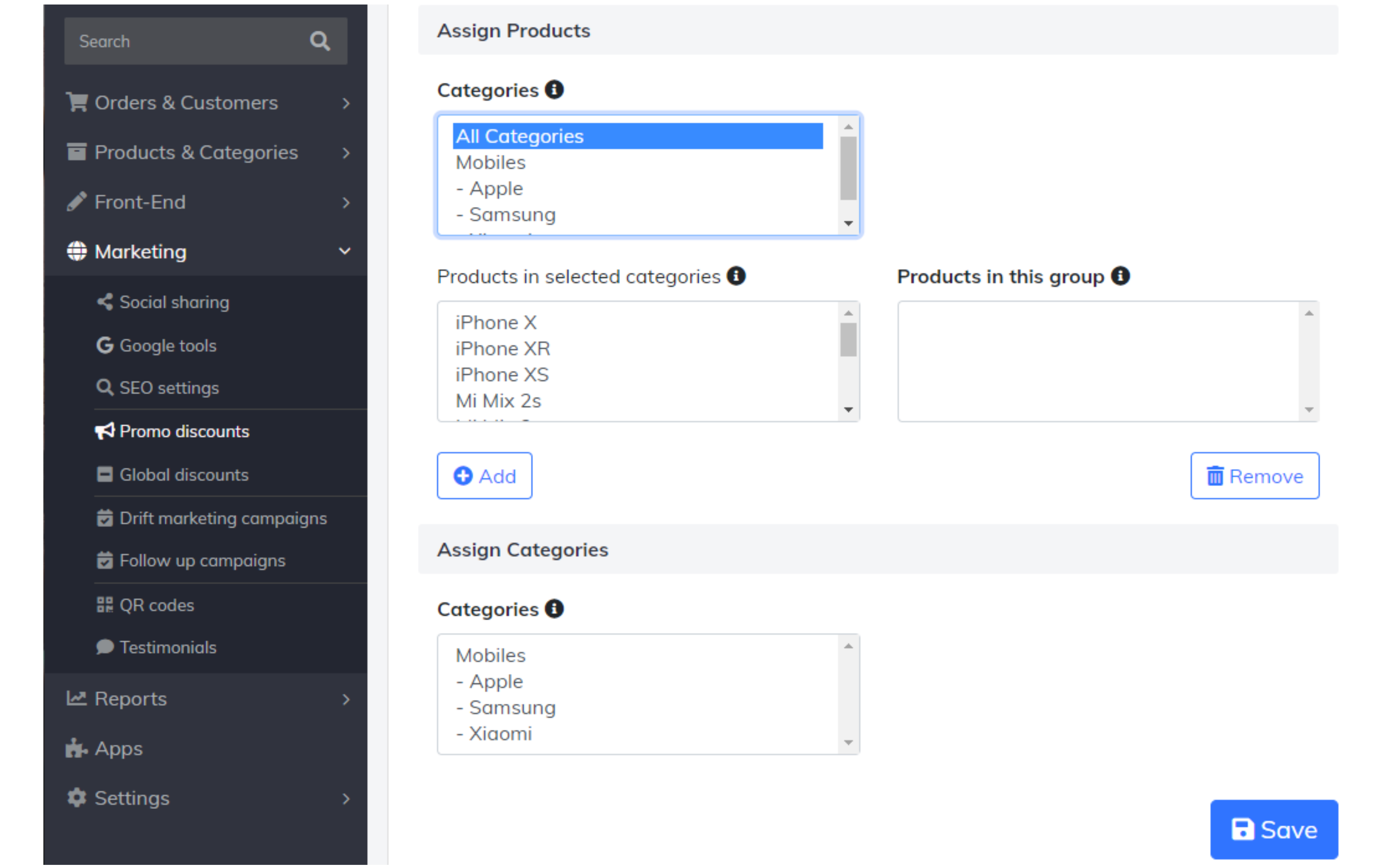 assign products and categories to promo code
