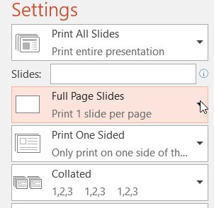 Print Settings graphic, click Full Page Slides