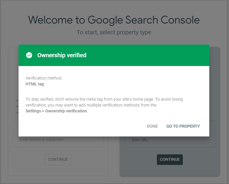 ownership successfully verified