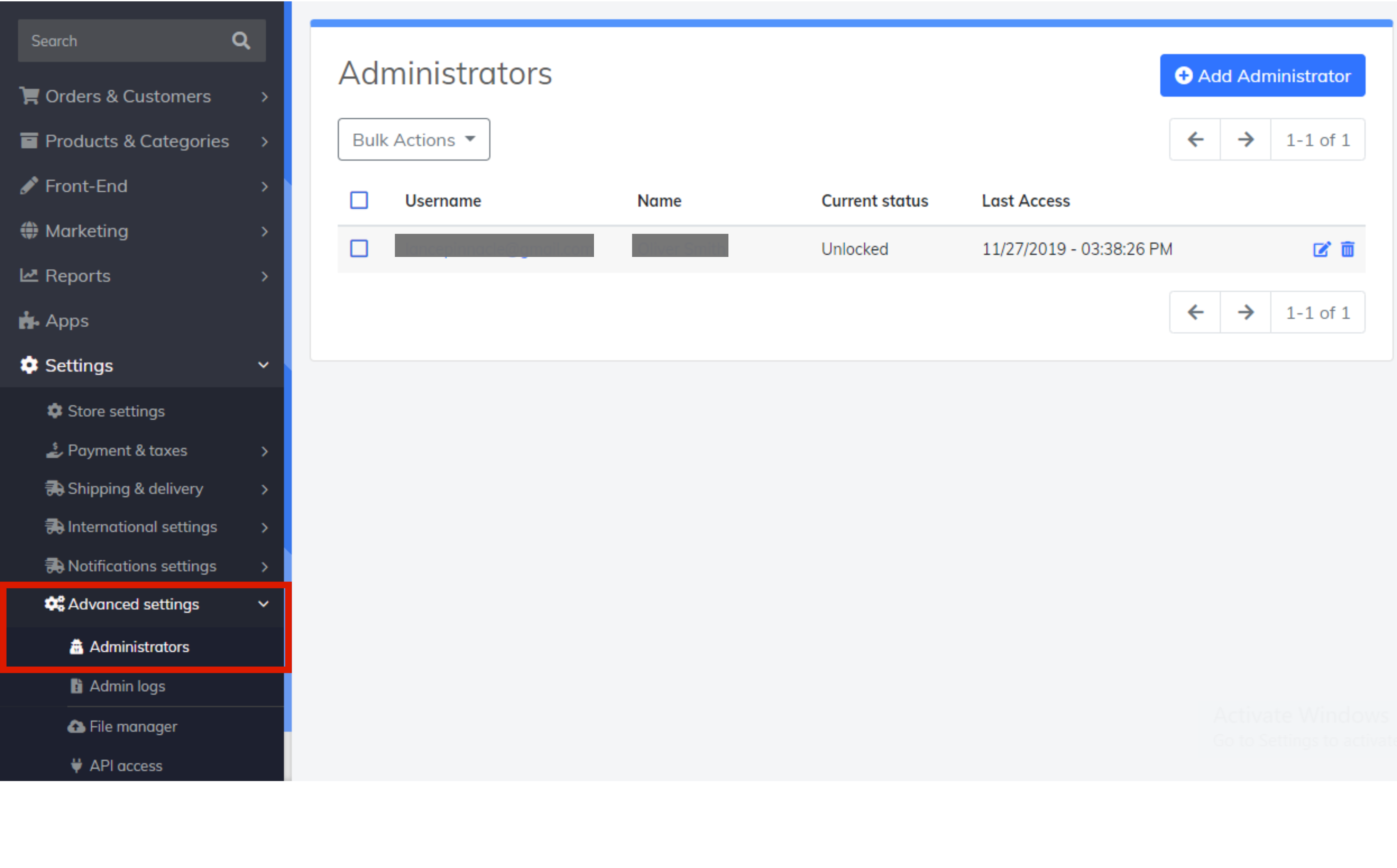 site administrator settings