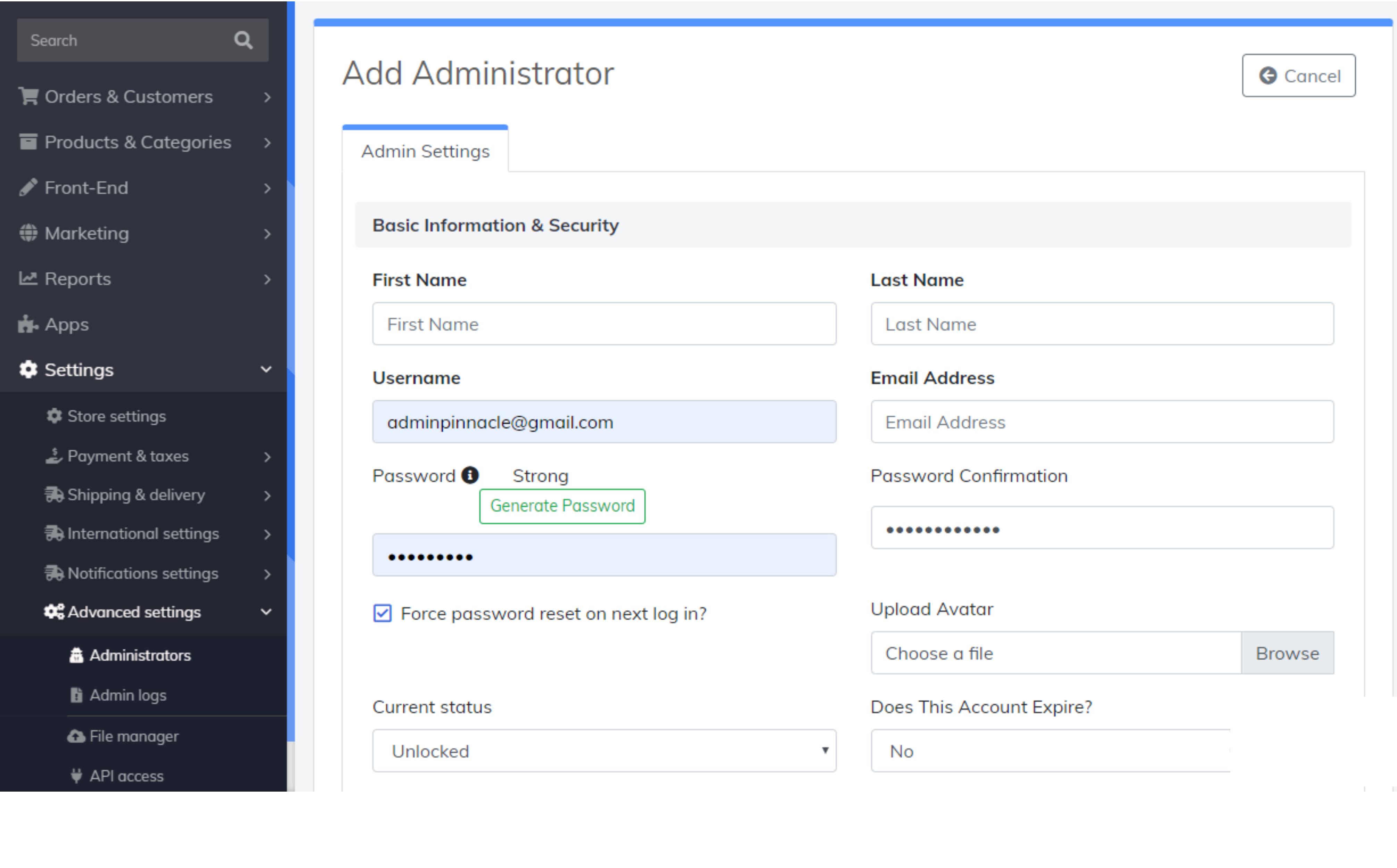 add administrator form