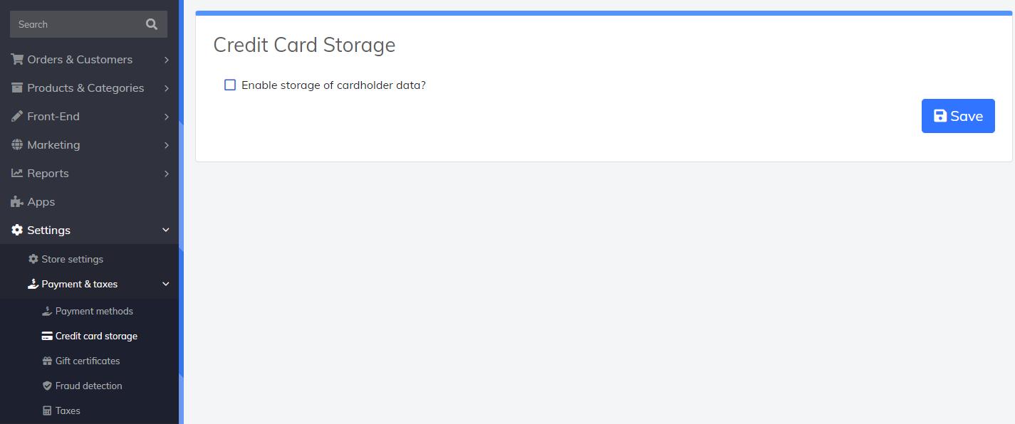 credit card storage