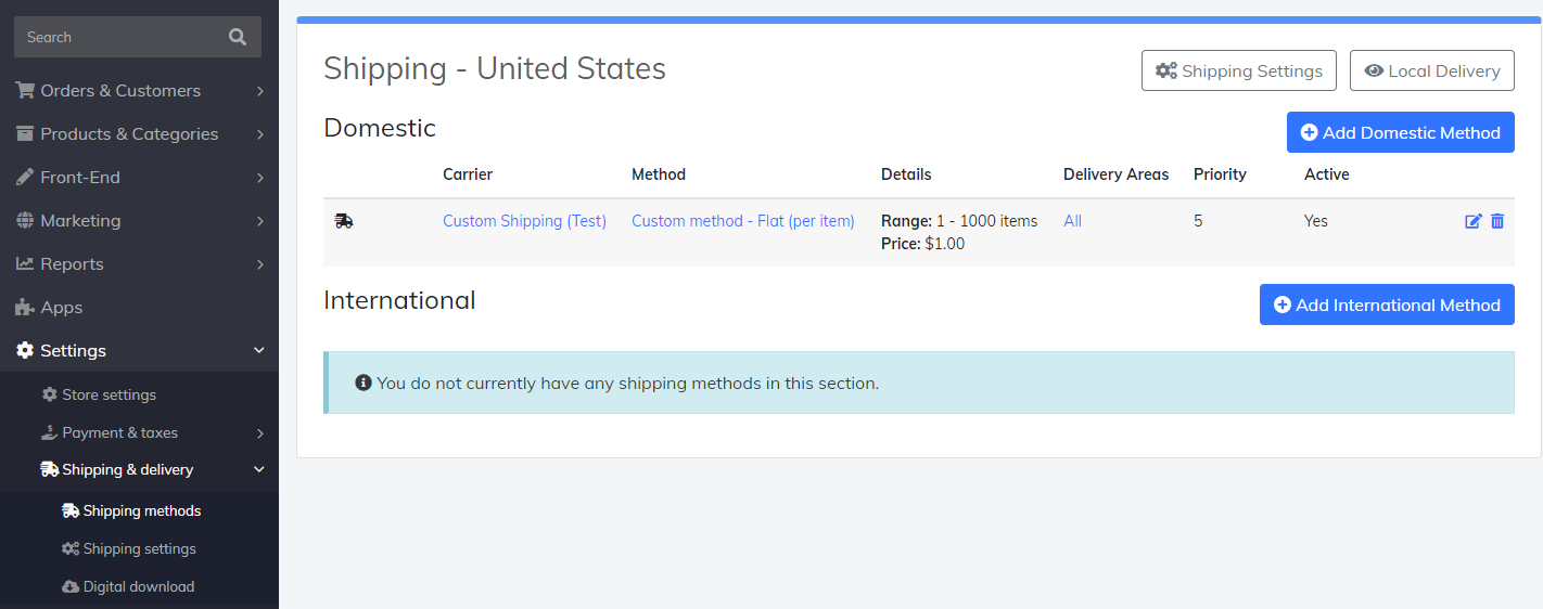 shipping methods settings