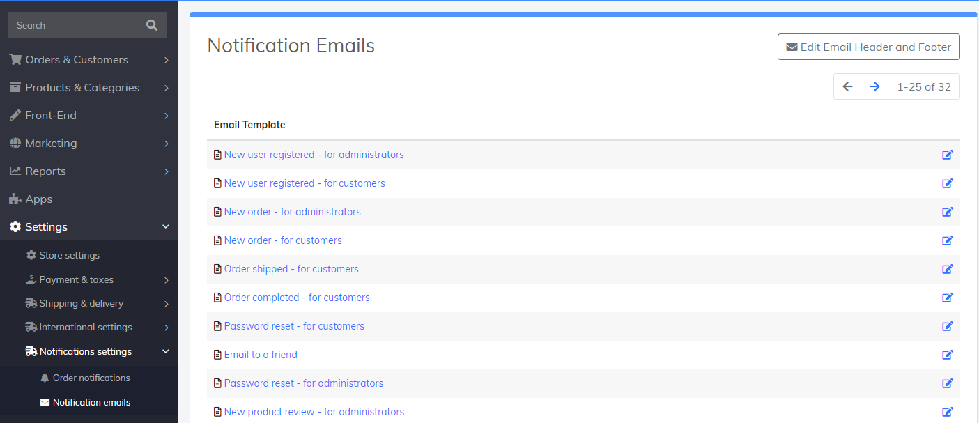 notification emails settings