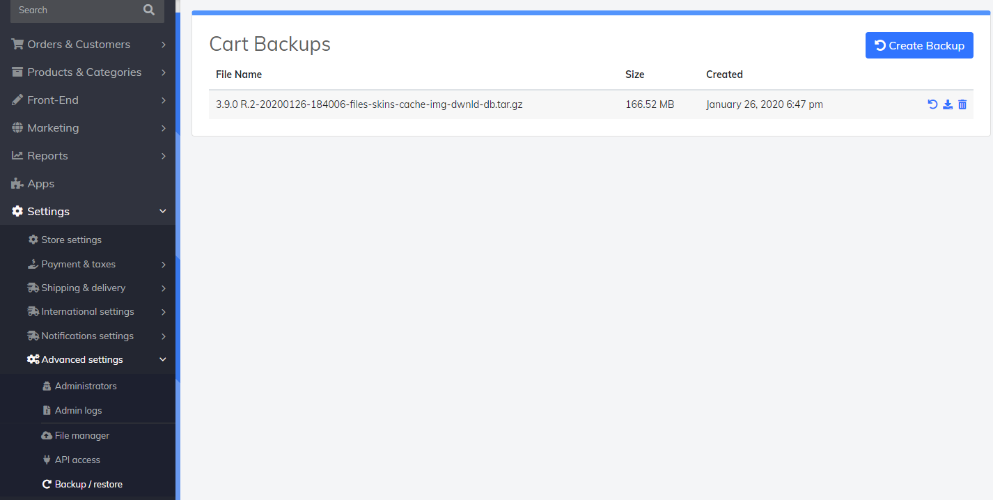 cart backup settings