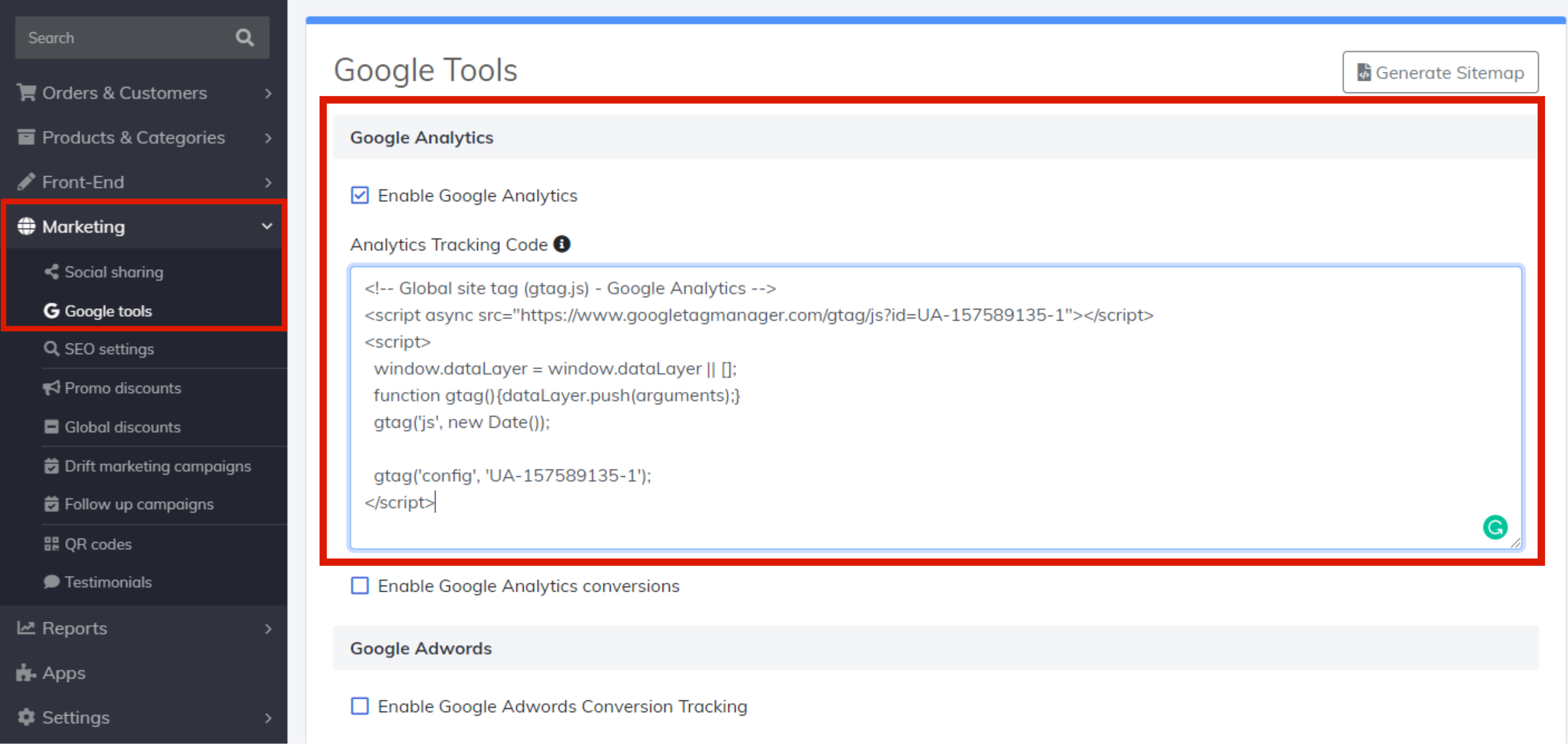 paste google analytics tracking code