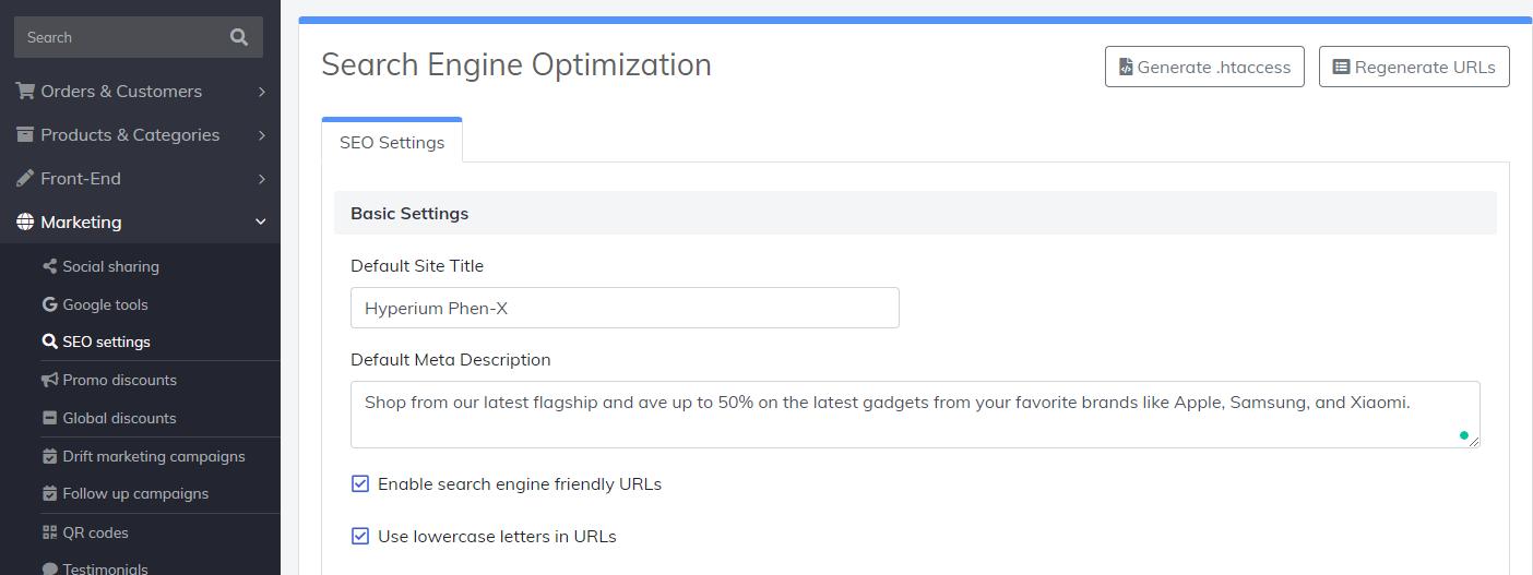 customize SEO settings