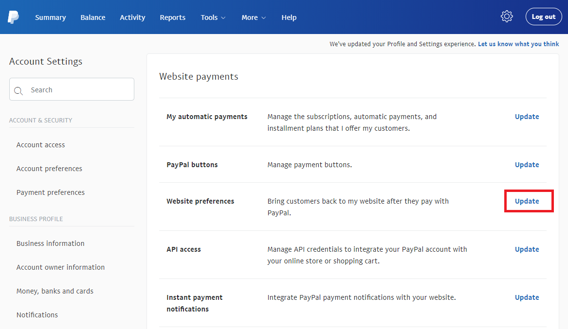 paypal-website-settings