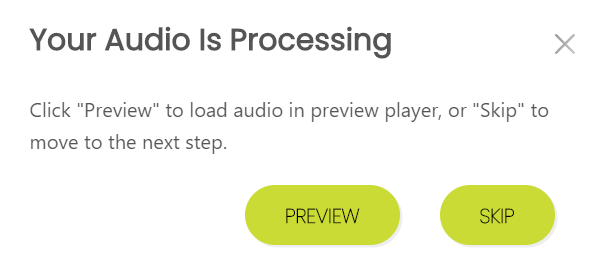 Your Audio is Processing message