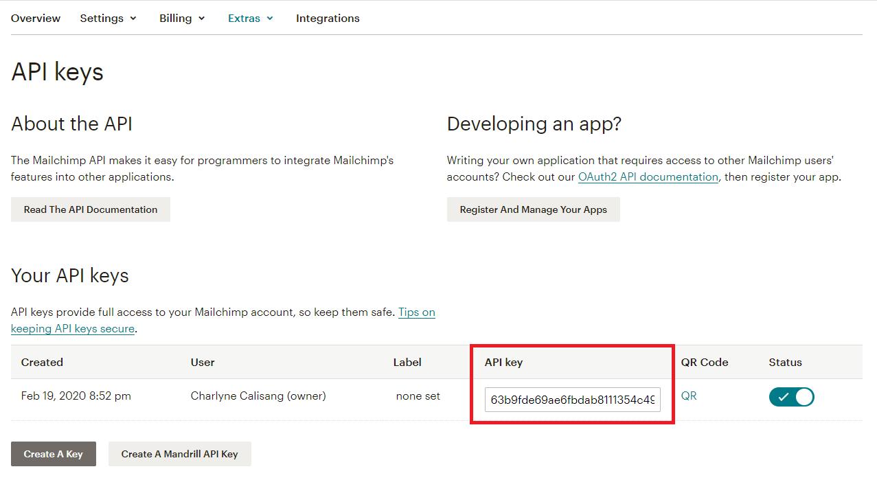 API-key-mailchimp