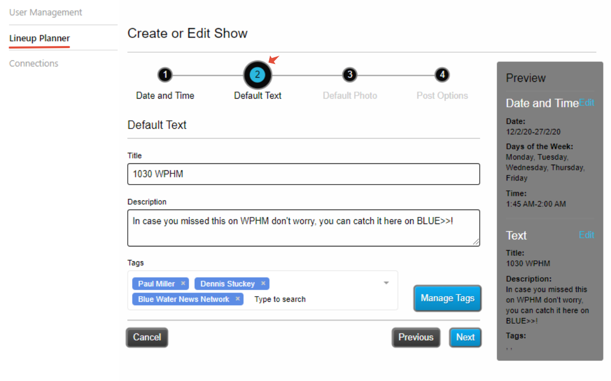 Lineup Planner - Create or Edit Show