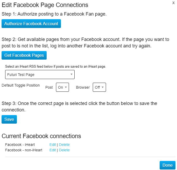 Editing Face Book Page Connections