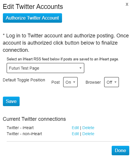 Editing Twitter Connection Default