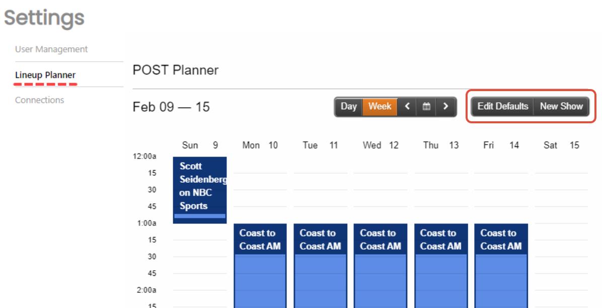 Settings - Lineup Planner