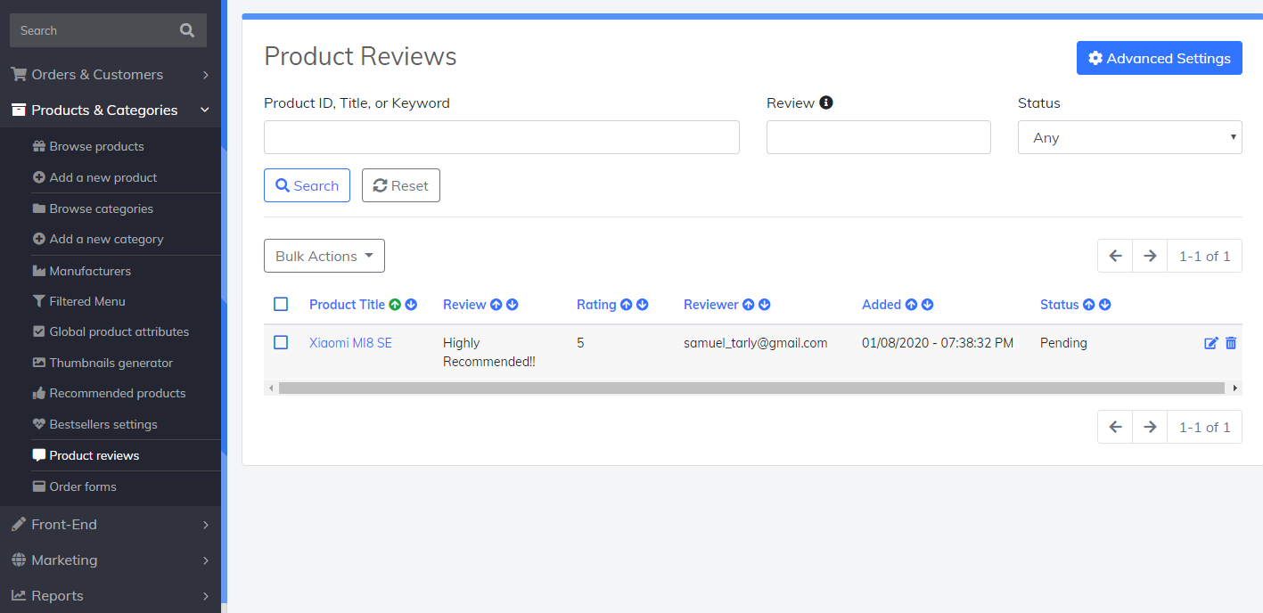 product reviews advanced settings