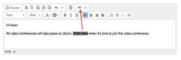 screenshot of adding a hyperlink to sign up description