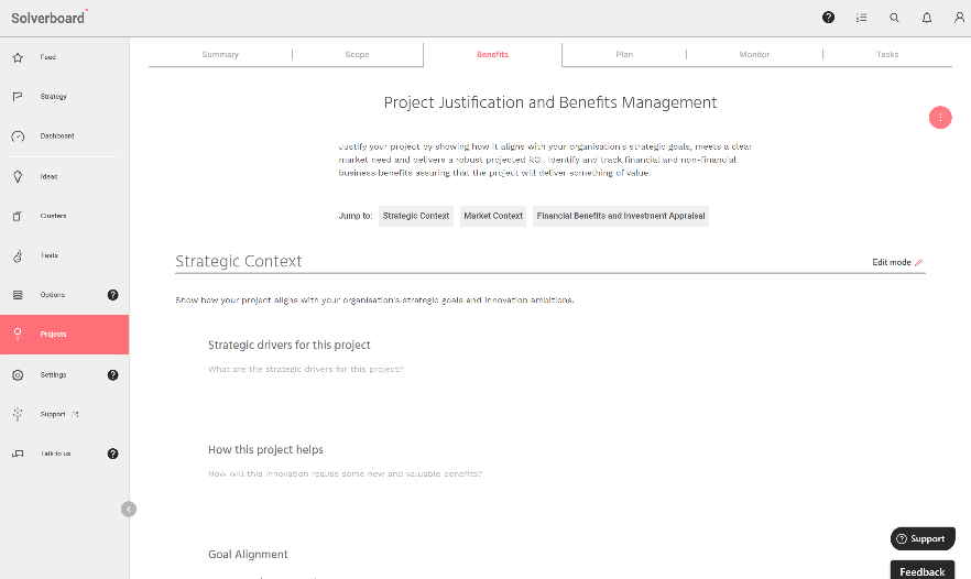 Image showing a project's strategic context section