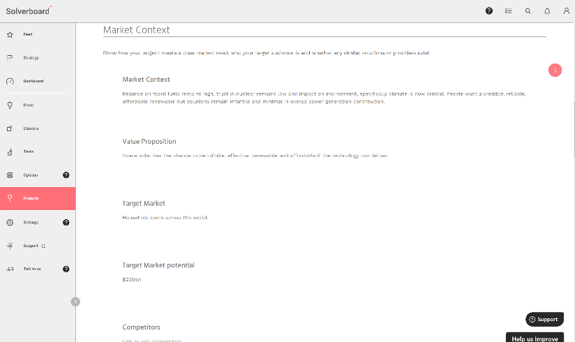 Image showing a project's market context section