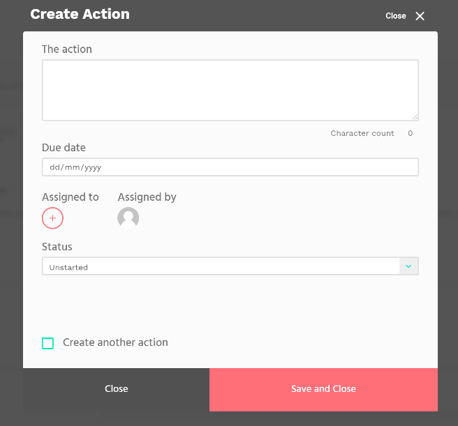 Image showing creating an action