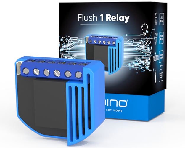 Flush 1 Relay product image with the boxing