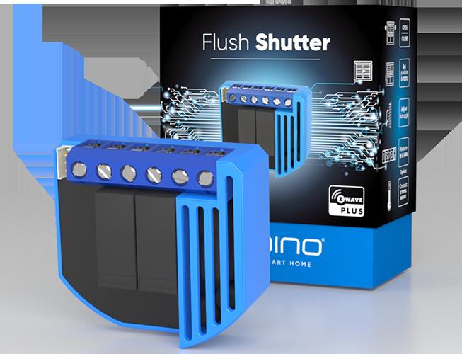 Qubino Flush Shutter product image with packing