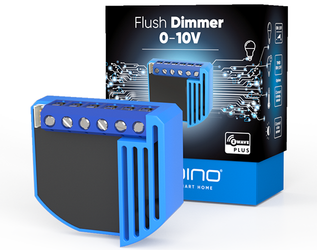 Qubino Flush Dimmer 0-10V product image with packing