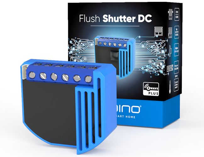 Qubino Flush Shutter DC product image with packing