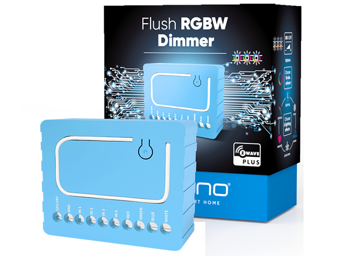 Qubino Flush RGBW Dimmer product image with packing