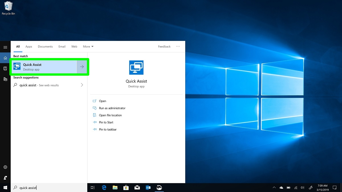 Screenshot of Quick Assist settings