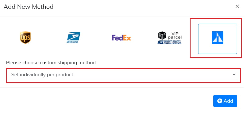 custom shipping method