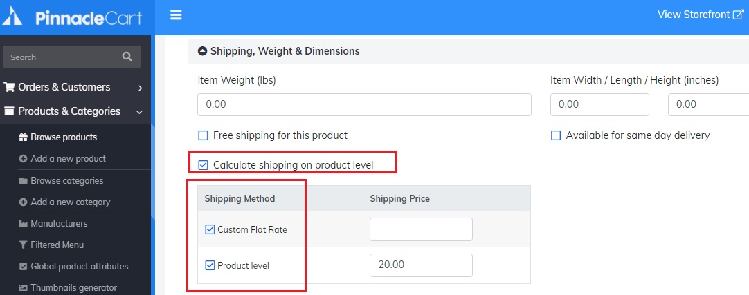 calculate shipping product level