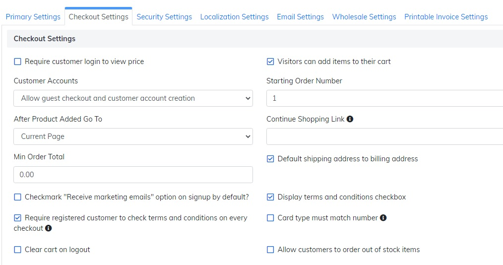 checkout settings section