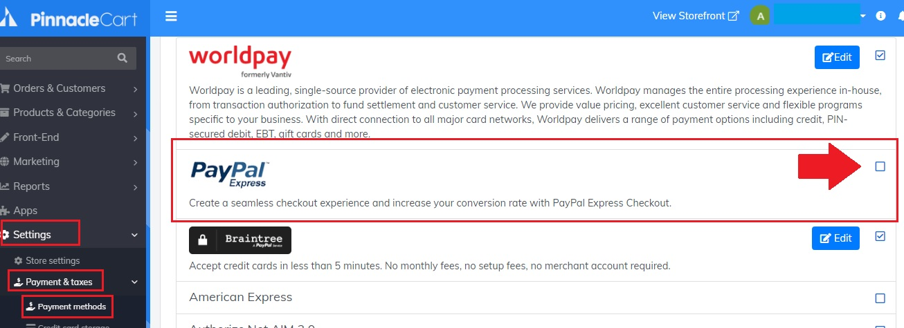 enable paypal express