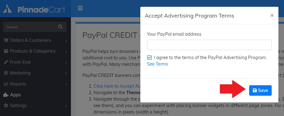 accept advertising programs terms