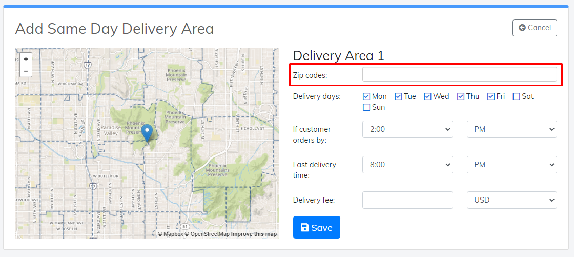 same day delivery area