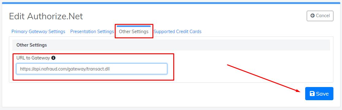 edit URL to gateway