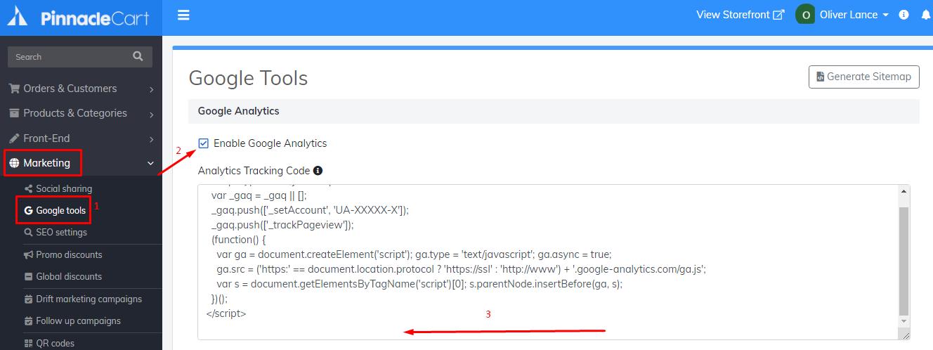 enable google analytics