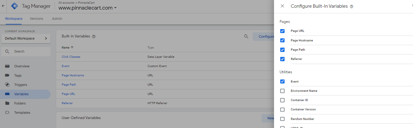 configure built-in variables