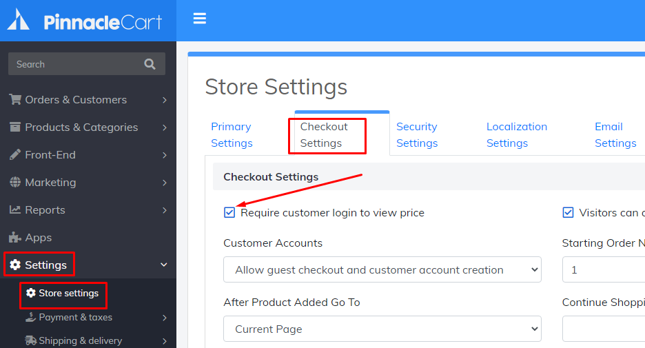 require customer login