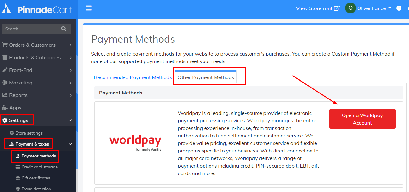 worldpay payment method