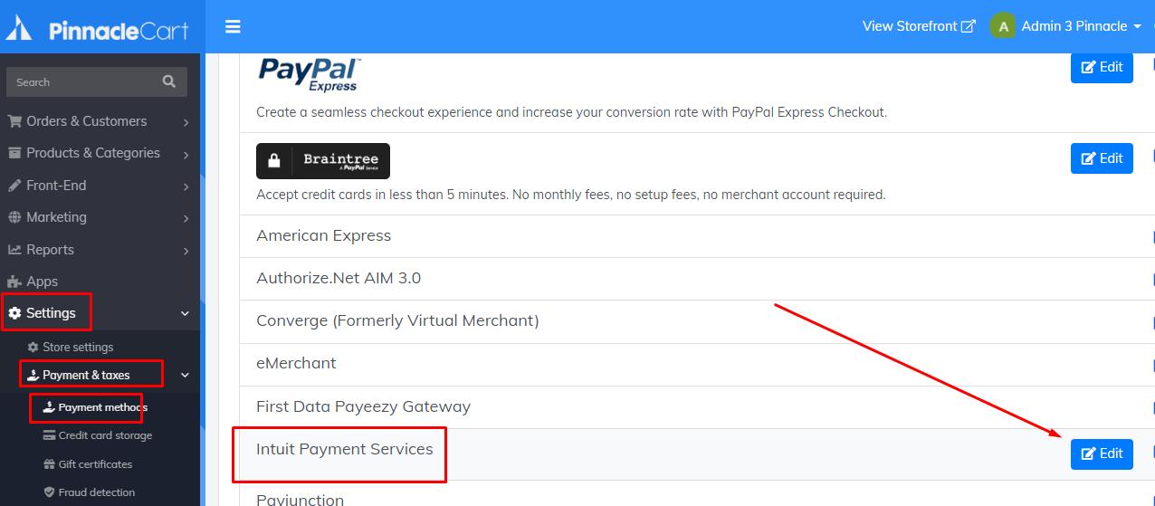 edit intuit payment services